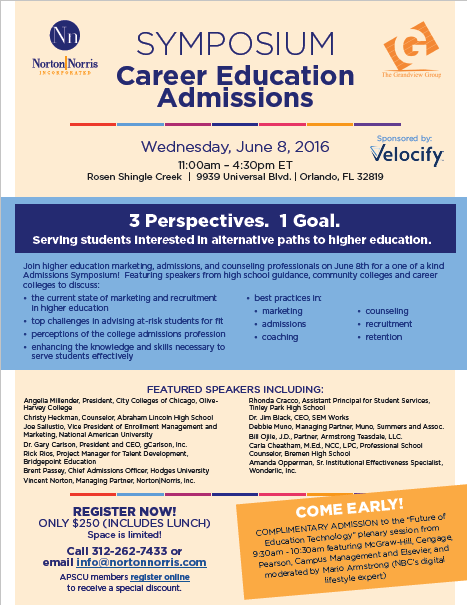 Flyer for admissions symposium